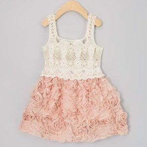 Other - Rose & Cream Chiffon Rosette Dress - Size 3T/4T